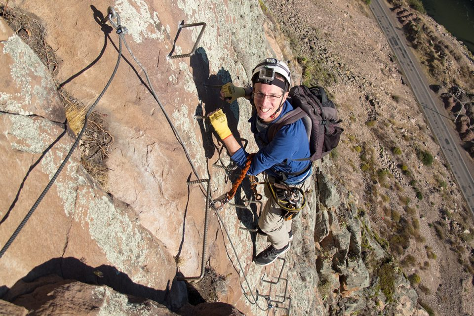 Skylodge Adventure Suites: Tony doing via ferrata in Peru's Sacred Valley