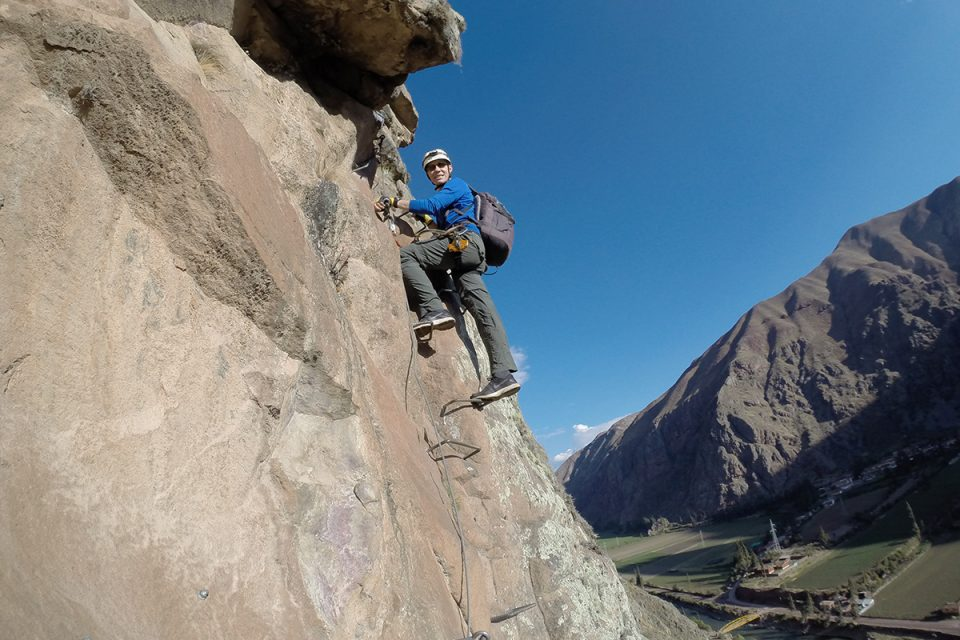 Skylodge Adventure Suites: Thomas doing via ferrata in Peru's Sacred Valley