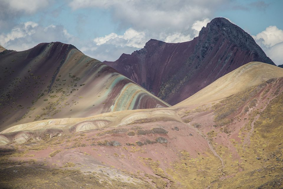 Ausangate trek: Vinicunca rainbow mountain Peru from a distance