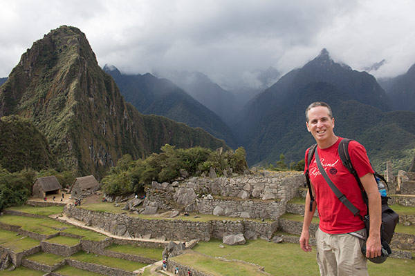 Tony dodges the rain showers at Machu Picchu