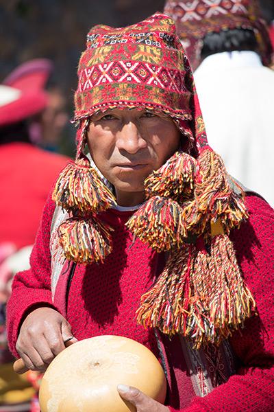 Peruvian man in traditional garb