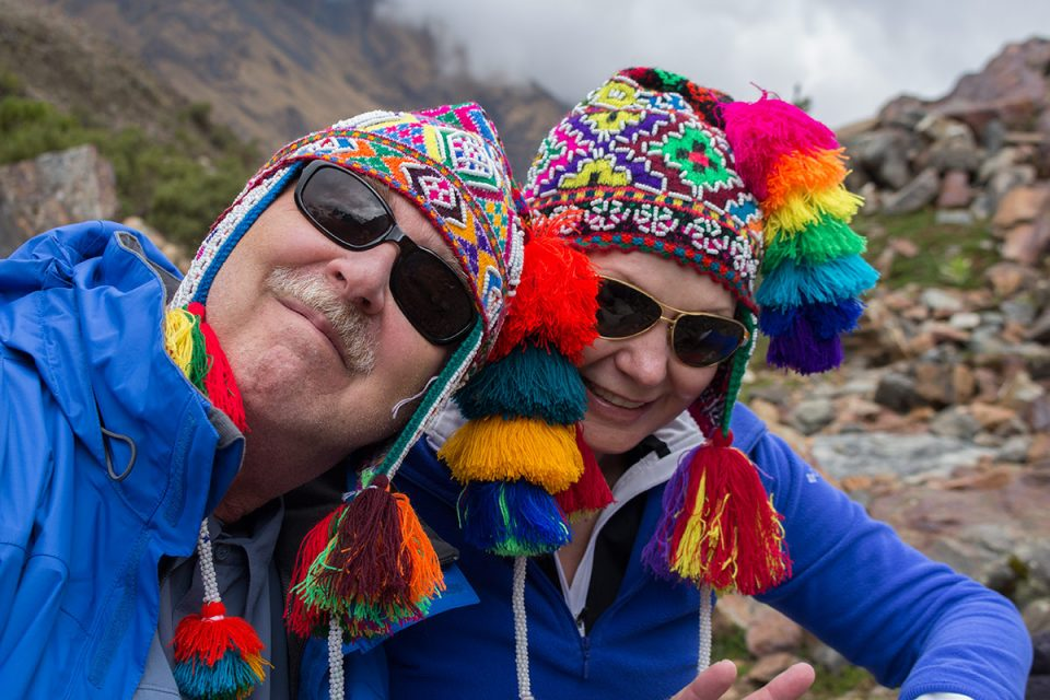 Salkantay trek to Machu Picchu: Tim and Diane during the ceremony