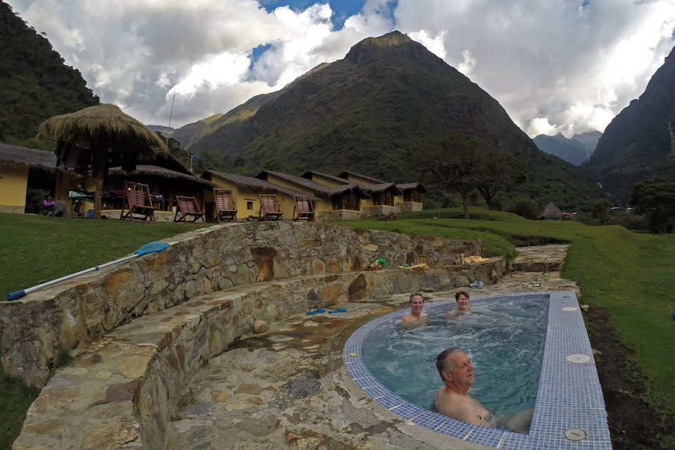 Salkantay trek to Machu Picchu: Taking in the view from the Jacuzzi