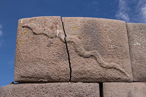 Snake carved on Sillustani stone