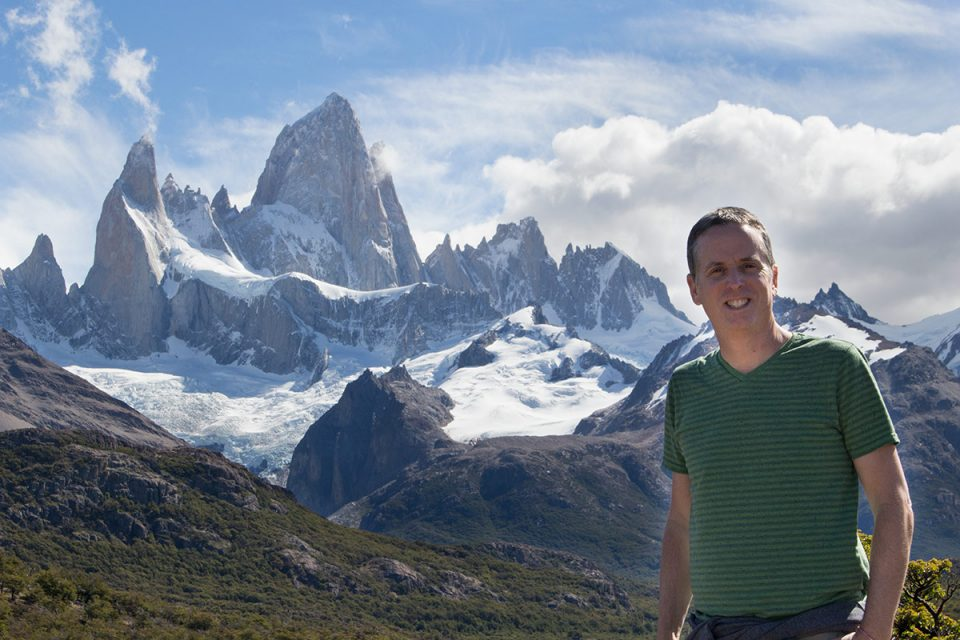 Hiking in Los Glaciares National Park North: Tony backed by Mt. Fitz Roy