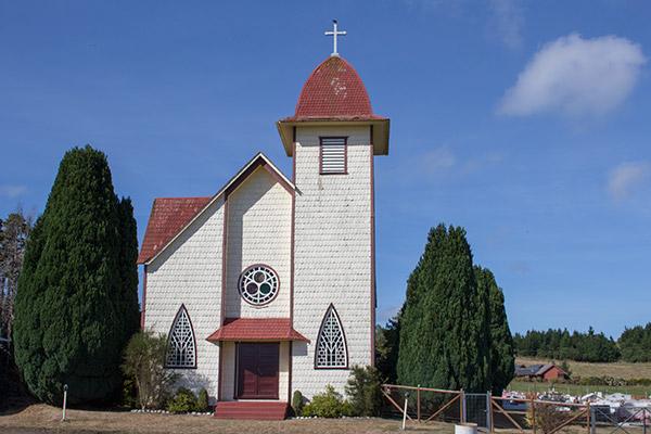Wood-shingled church outside of Puerto Varas