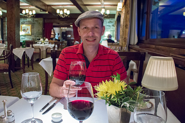 Thomas enjoying his dinner at Los Cesares Restaurant