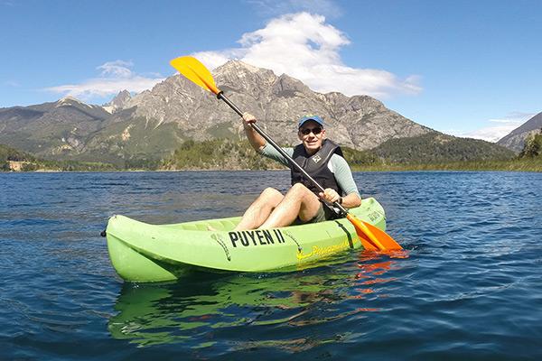 Thomas kayaking on Lake Moreno