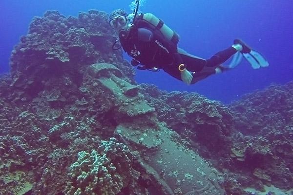 Thomas floats above a moai