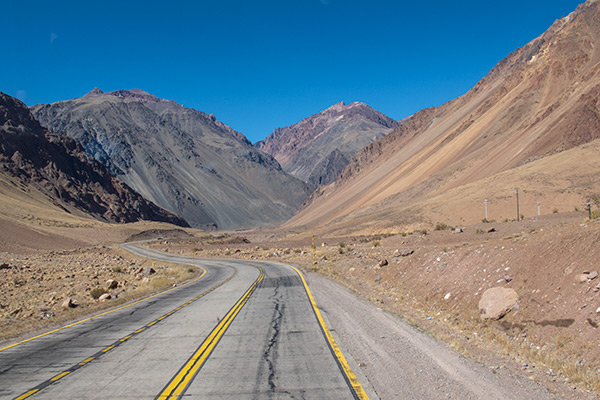 Road between Argentina and Chile