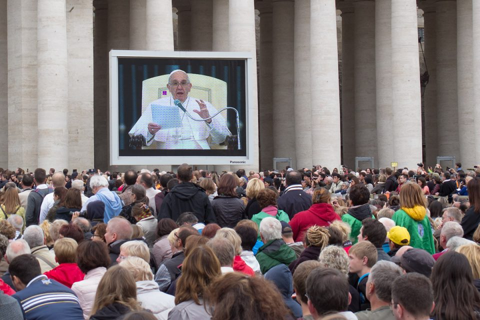 Things to do in Rome: Papal audience on Tv screen