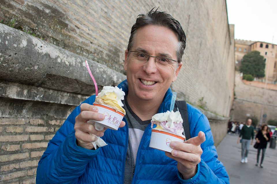 Roman food guide: Tony enjoying gelato
