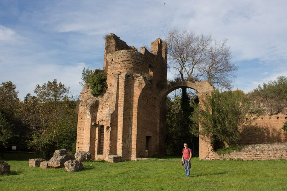Rome off the beaten path: Tony wandering through the ruins of Villa di Massenzio