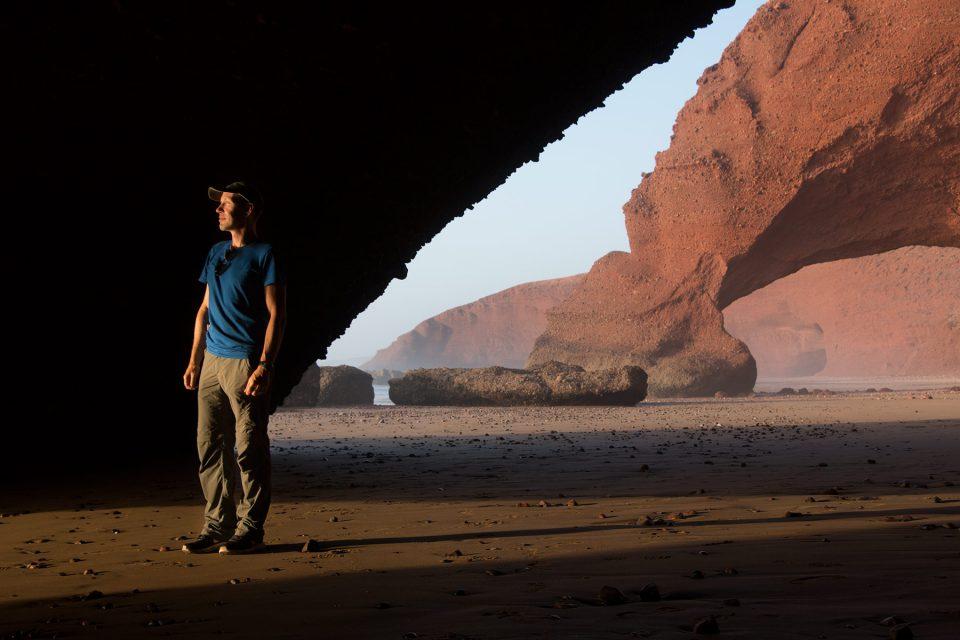 Thomas at Legzira Beach in Morocco
