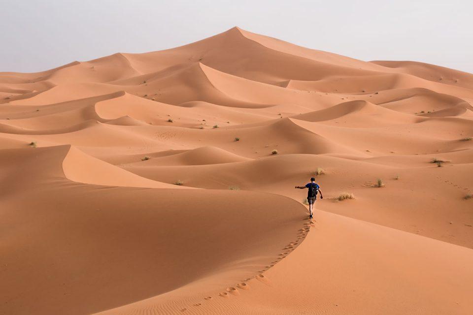 Walking over Dunes of Merzouga