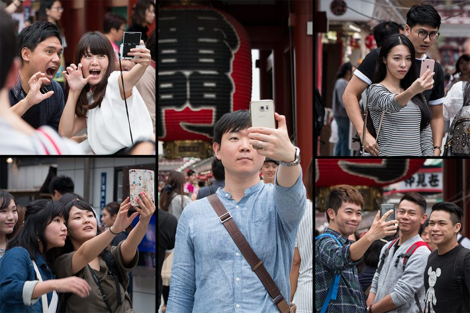 Selfies at Senso-ji temple in Asakusa