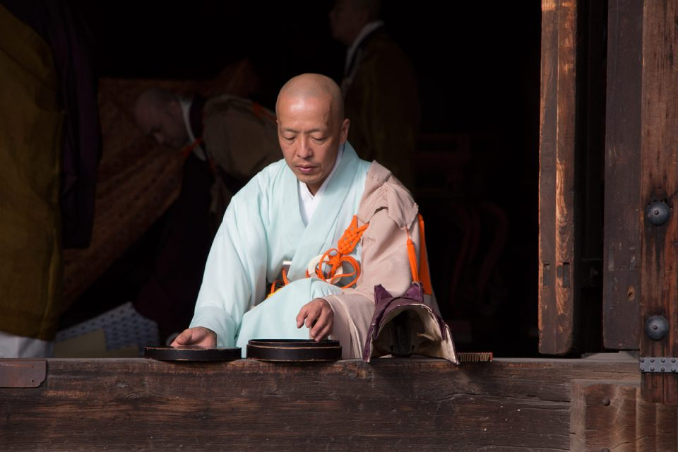 A monk in Kenninji in Kyoto's Gion quarter