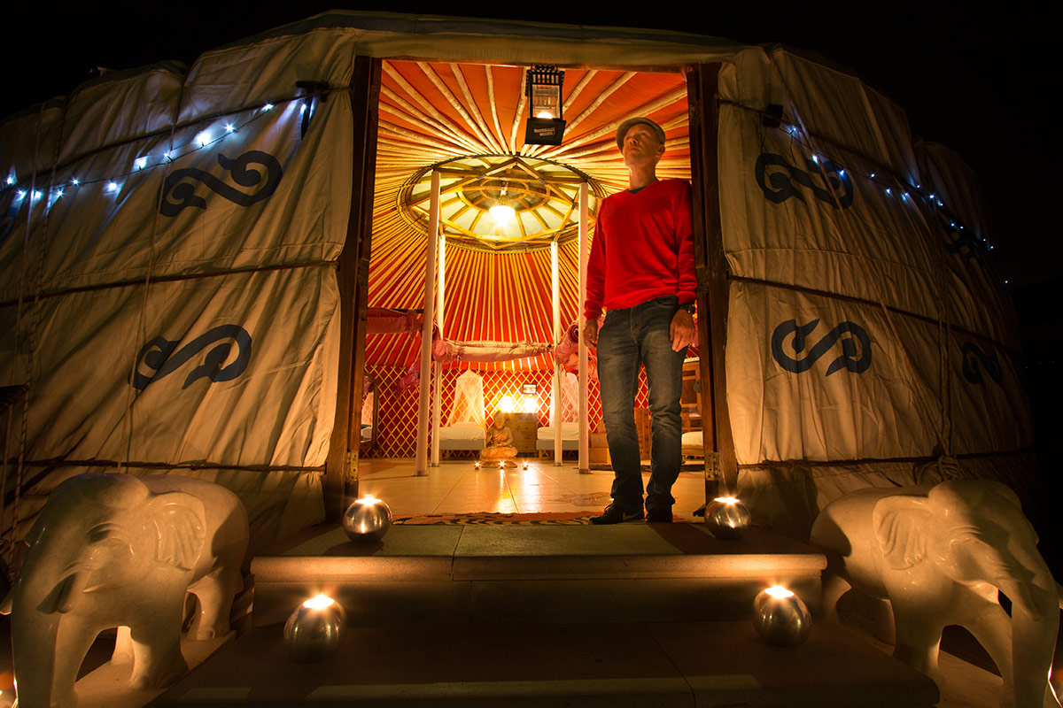 Eco Yurt Royale at night