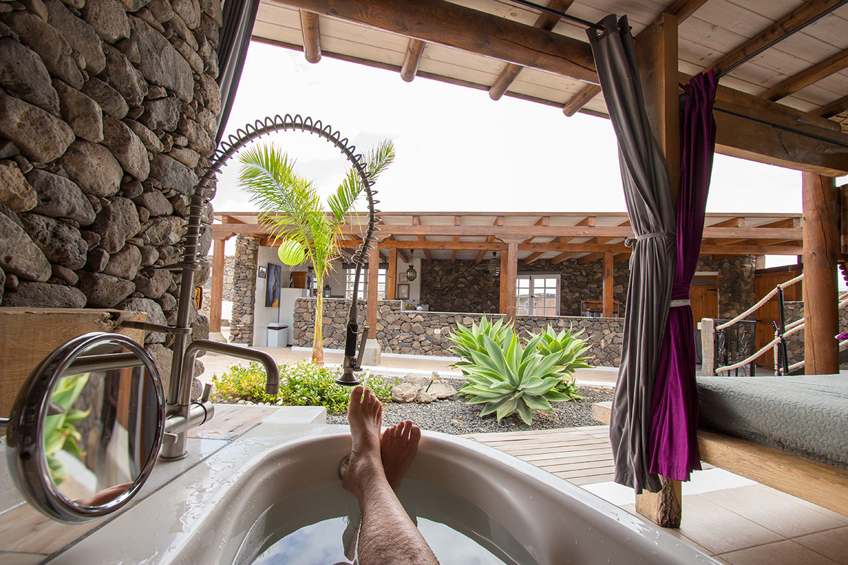 Open-air bathtub at Eco Yurt Royale