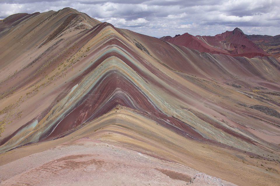 Ausangate trek: Spectacular Vinicunca rainbow mountain Peru as seen from viewpoint