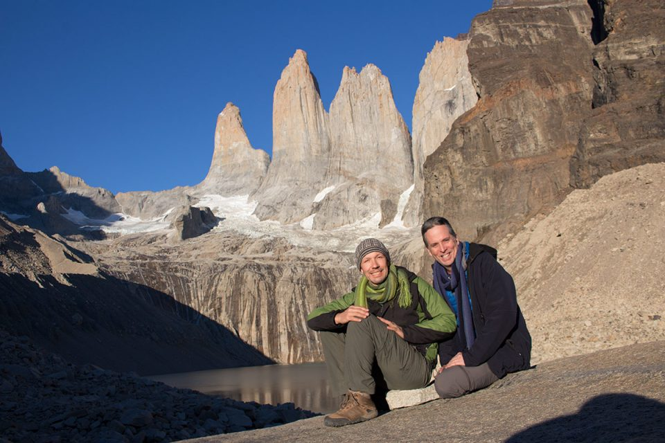 Tony and Thomas trekking Torres del Paine