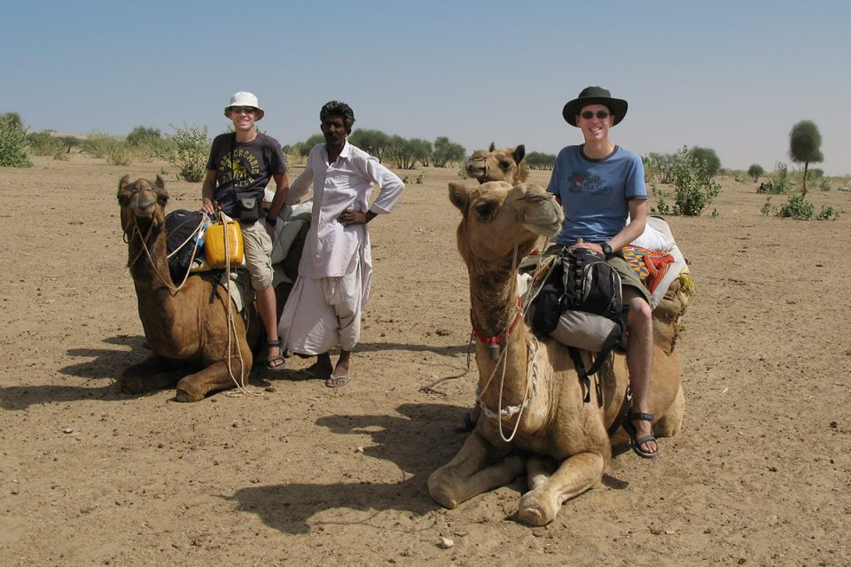 Tony and Thomas on camel safari in Rajasthan