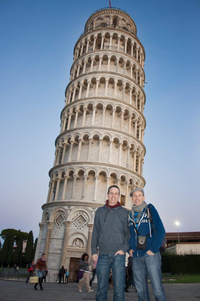Tony and Thomas at the Leaning Tower of Pisa, Tuscany
