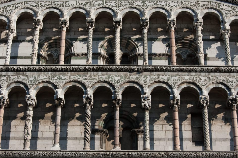 Ornate facade of Lucca Cathedral, Tuscany