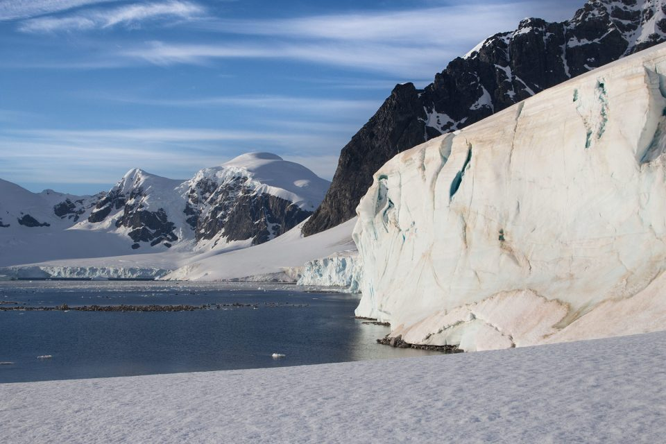 Snow covered beach on Ronge Island in Antarctica