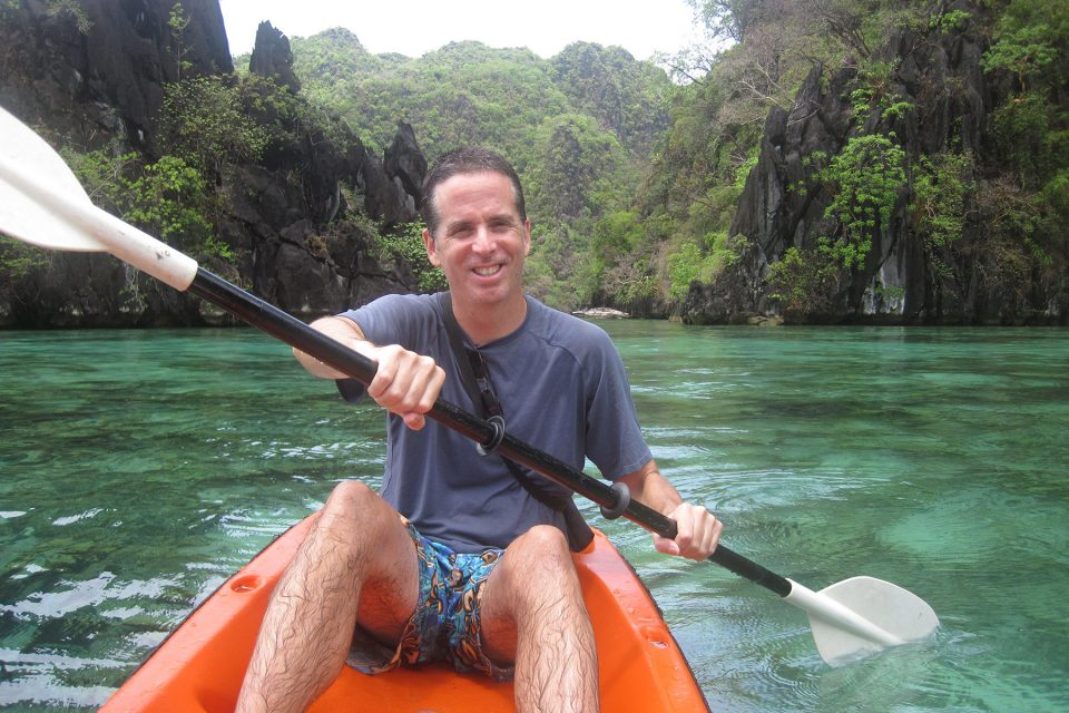 Tony kayaking off Coron Island