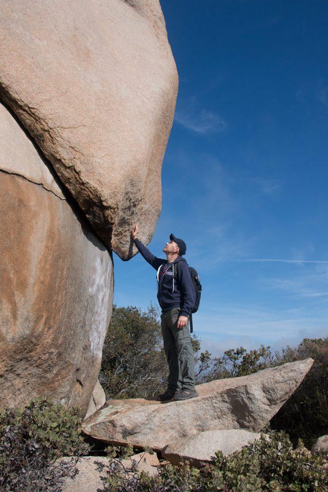 Thomas hiking to Potato Chip Rock
