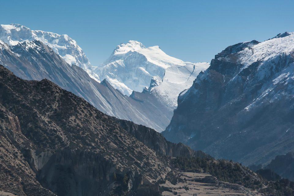 Manaslu rises up behind the Paungi Danda along the Annapurna Circuit