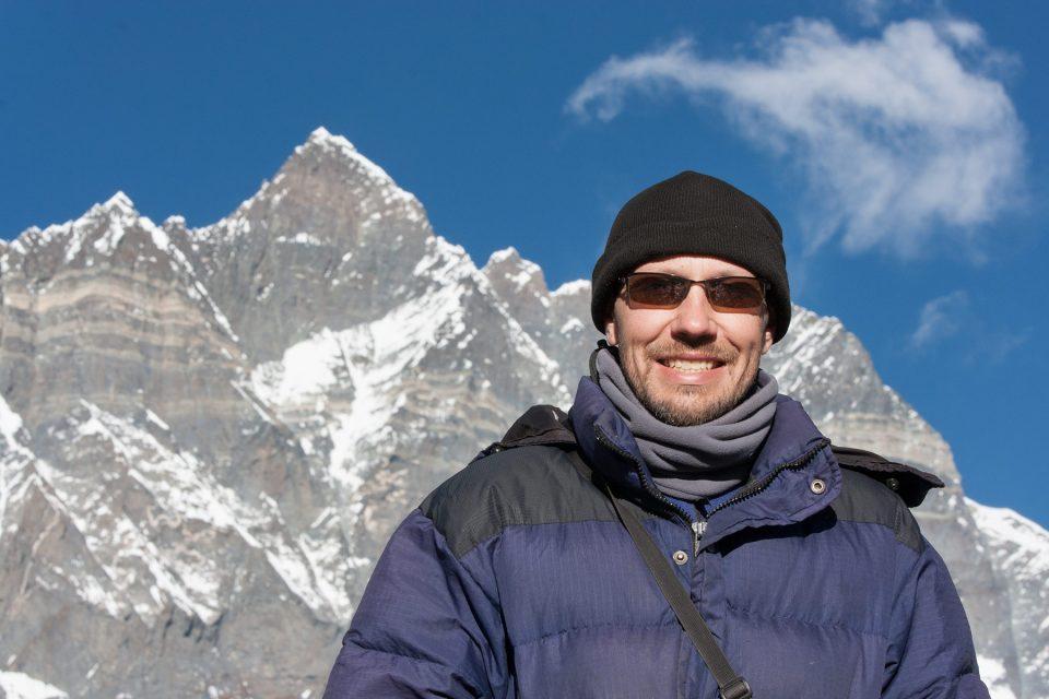 Thomas backed by Lhotse in Nepal