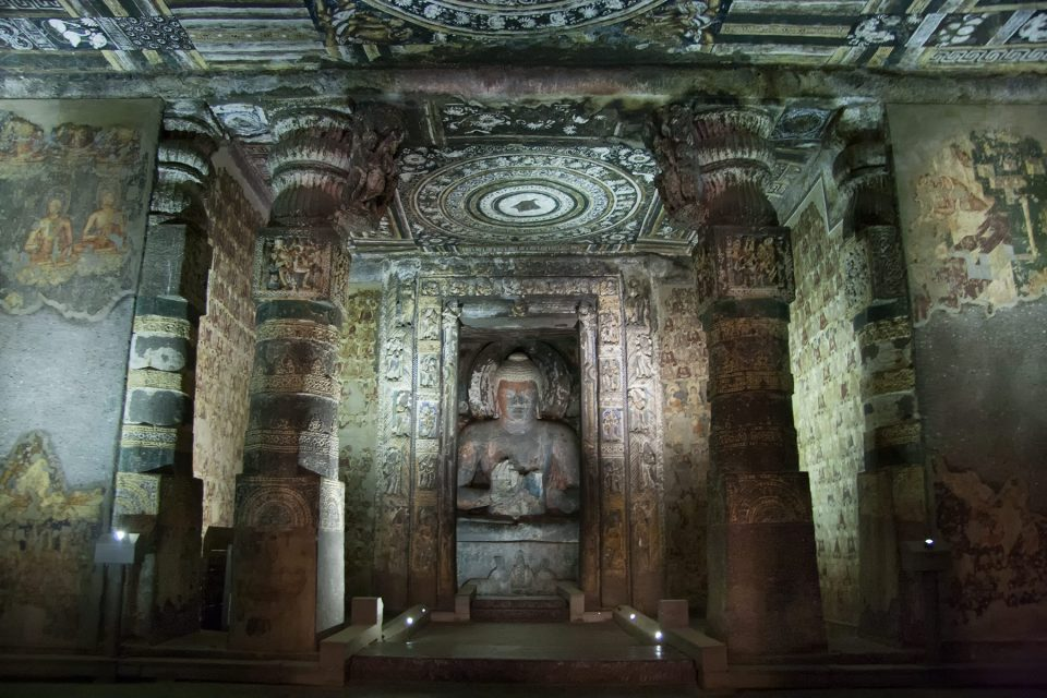 Elaborately painted cave temples at Ajanta in Maharashtra