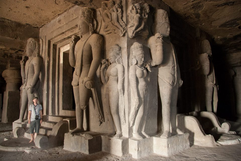 Massive cave temple at Ellora Caves
