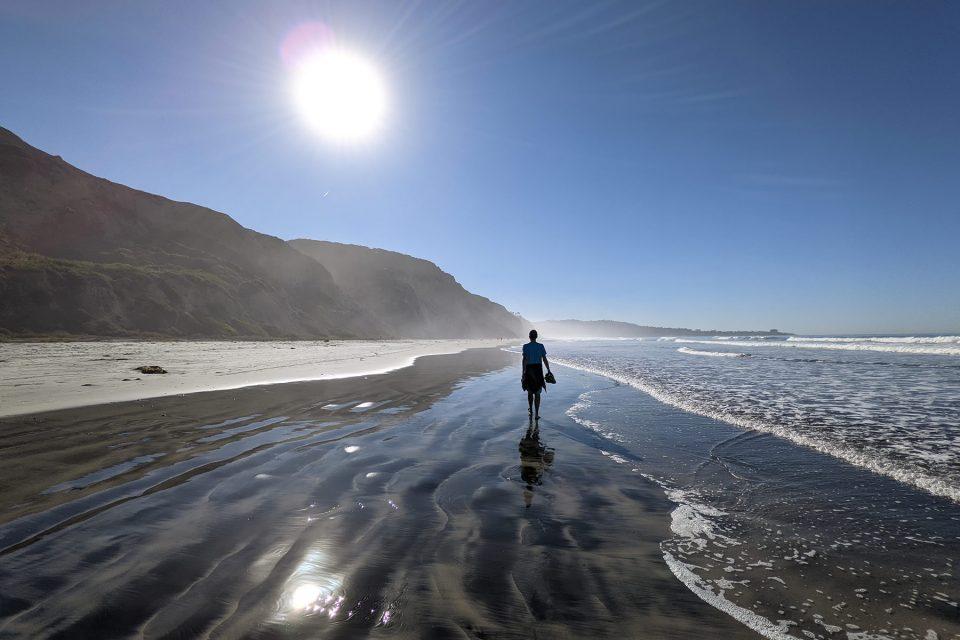 Hiking along Black's Beach in San Diego, California